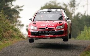 Picture Red, Wheel, Logo, The hood, Citroen, WRC, Rally, Rally, In the air, The front