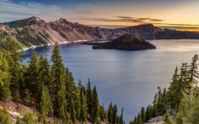 Picture nature, lake, island, crater, Oregon, national park, Crater lake