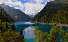 Picture mountains, lake, China, China, reserve, Long Lake, Sichuan, Sichuan, Minshan, Jiuzhaigou, Jiuzhaigou, Long lake