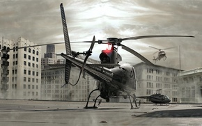 Wallpaper cover, building, Helicopter