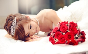 Picture the bride, tiara, girl, wedding, bouquet, Asian