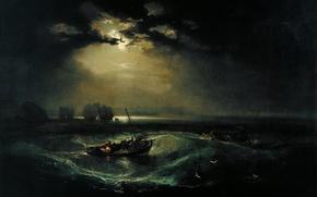 Picture sea, wave, light, clouds, boat, fishermen, fishermen at sea, joseph mallord william turner