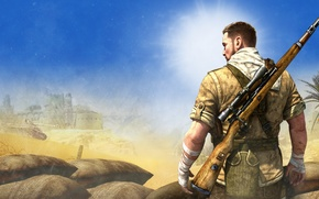 Wallpaper bags, Sniper Elite 3, soldiers, tank, rifle, desert, Palma
