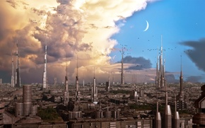 Picture sky, clouds, birds, planet, towers, iron city