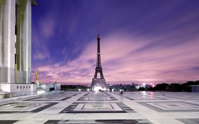 Picture lights, Paris, area, twilight, Eiffel tower