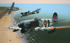 Picture war, art, painting, drawing, ww2, Typhoon MN934, d-day, Typhoons Over Normandy by Ivan Berryman
