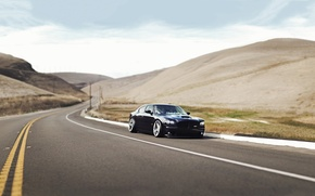Picture Road, Mountains, Grass, Dodge, Black, Charger