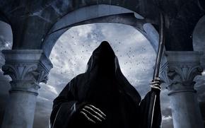 Picture skeleton, horror, horror, oblique, creepy, scary, grim reaper, skeleton, terrible, scythe, creepy, Makeup, Reaper