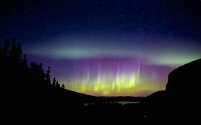 Picture stars, night, nature, Northern lights, silhouettes