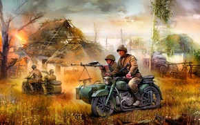 Picture figure, art, M-72, Soviet heavy motorcycle