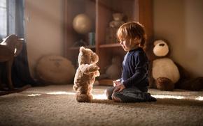 Picture boy, bear, the conversation