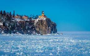 Picture snow, lighthouse, Nature, Frozen North Shore