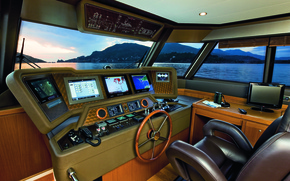 Picture luxury, cockpit, motor yacht LR23, Pilot House with Full Controls