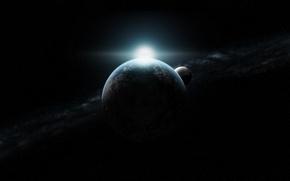 Wallpaper sunrise, infinity, the moon, planet, stars