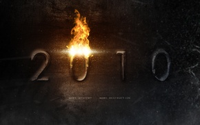Wallpaper fire, new year, figures, 2010