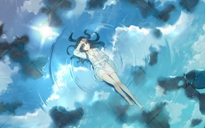 Picture the sky, water, girl, the sun, clouds, smile, reflection, anime, art