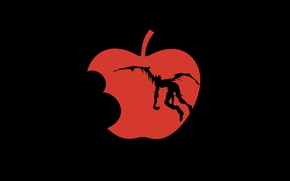 Picture text, Apple, black background, Death Note, death note