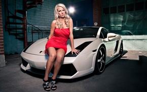 Picture girl, Girls, garage, Lamborghini, dress, blonde, white car, vzgld