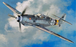 Picture fighter, war, art, airplane, painting, ww2, Messerschmitt Bf 109 G-14