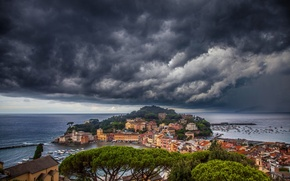 Picture sea, the sky, clouds, coast, building, Italy, panorama, Bay, Italy, The Ligurian sea, Cape, Italian ...