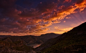 Picture mountains, sunrise, morning, CA, USA, Sierra Nevada, lake canales