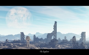 Picture space, the city, planet, astronaut, ruins, The Explorer