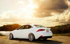 Picture Lexus, white, vossen wheels, rearside, IS F-sport