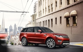 Picture red, the city., SUV, Land Rover, Range Rover