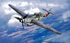 Picture war, art, airplane, painting, aviation, ww2, bf 109, german fighter