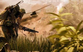 Picture death, explosions, tape, cartridges, machine gun, equipment, war.soldiers.helicopter