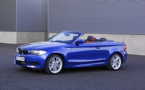 Picture Auto, Blue, BMW, Boomer, Convertible, Asphalt, 135i