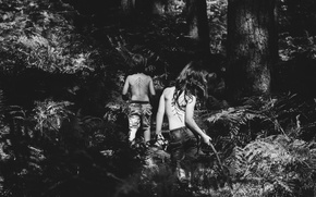 Picture girl, forest, trees, nature, people, boy, black and white, United Kingdom, b/w, New Forest District