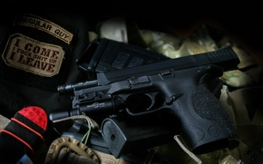 Picture gun, weapons, flashlight, Smith & Wesson, M&P9