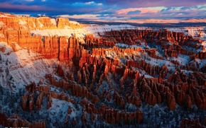 Picture the sky, clouds, light, rocks, morning, USA, the first rays, National Park Bryce Canyon
