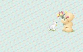 Picture summer, flowers, mood, minimalism, bouquet, art, bear, tulips, lamb, children's, Forever Friends Deckchair bear