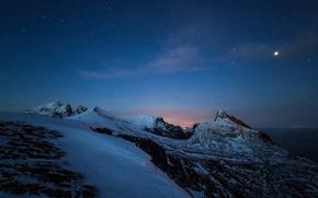 Picture sea, stars, snow, night, rocks, Norway