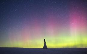 Picture woman, winter, snow, northern lights, wedding dress, aurora borealis