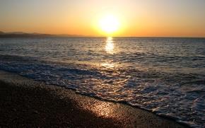 Wallpaper sea, the sun, horizon, black