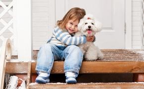 Wallpaper winter, hugs, beautiful, friends, joy, Dogs, Bolognese, smile, Jeans, Little girls, child, little girl, winter, ...