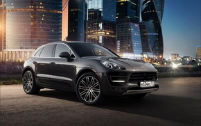 Picture Porsche, Car, Russia, Offroad, Macan, Moscow-City, Ligth, Nigth
