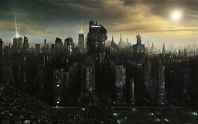 Picture darkness, building, height, destruction