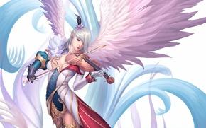 Picture girl, music, violin, wings, art, elf, musical instrument