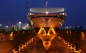 Picture night, lights, port, Doc, the ship, floodlights, ship, Bore sea, dry dock, anchores