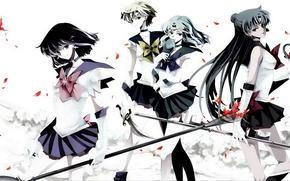 Picture girls, Saturn, Anime, Pluto, Neptune, Sailor Moon, components Holy Grail, Uranus