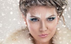 Wallpaper face, closeup, beauty, snowflakes, hairstyle, makeup, fur, girl