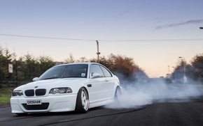 Picture bmw, turbo, white, drift, smoke, tuning, power, burnout, germany, stance, e46