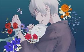 Picture flowers, anime, art, guy, Hotarubi no Mori e, Gin