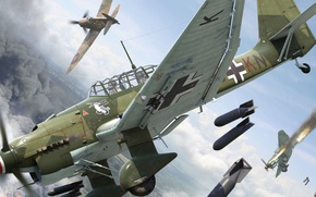 Wallpaper fire, smoke, attack, bombs, thing, dogfight, Supermarine Spitfire, Latinic, dive bomber, Junkers, lapotnikov, Dive bomber, ...