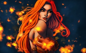 Picture chest, look, girl, face, fire, beauty, art, red