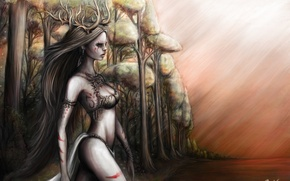Picture forest, the sky, look, water, girl, trees, horns, Dryad, long hair, dryad